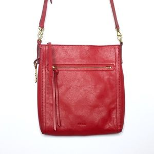Fossil Emma North South Crossbody Bag Red Leather